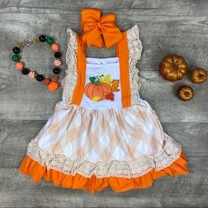 Pumpkin appliqué plaid Fall/ Halloween dress